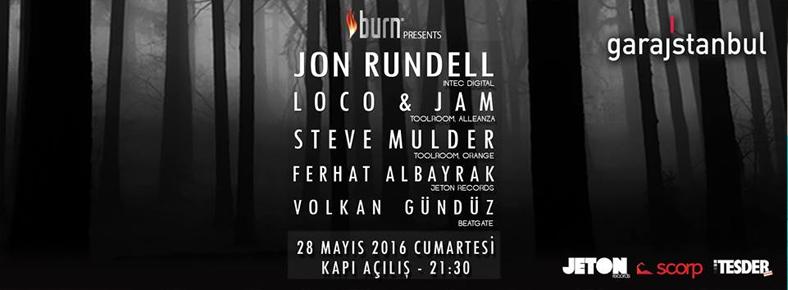 28 Mayıs 2016 Cumartesi 23:00 Jon Rundell @ garajistanbul