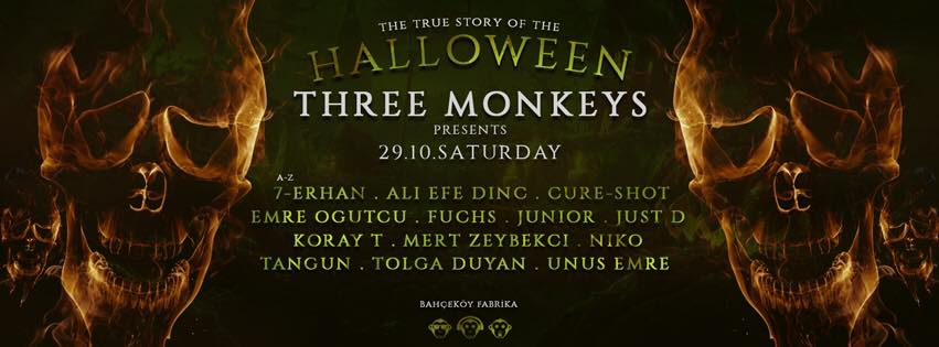 29 Ekim 2016 Cumartesi 22:00 Halloween Party @ Three Monkeys